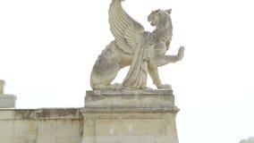 Lew i trumpetist statua przy pałac Longchamp w Marseille, Francja zdjęcie wideo