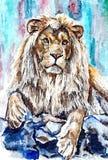 Lew jest królewiątkiem bestie Malować mokrą akwarelę na papierze Naiwna sztuka Rysunkowa akwarela na papierze ilustracji