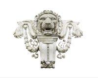Lew kamienna statua na bielu Zdjęcie Royalty Free