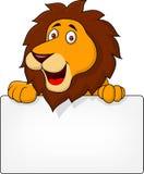 Lew kreskówka z puste miejsce znakiem Zdjęcie Royalty Free