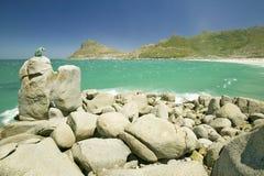 Lew rzeźba przegapia widok Atlantycki ocean i Hout zatoka, Południowy przylądka półwysep na zewnątrz Kapsztad, Południowa Afryka Zdjęcia Stock