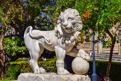 Lew rzeźba w Sevilla parku Obraz Royalty Free