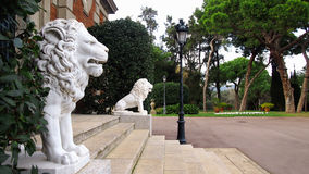 Lew rzeźby w Montjuic parku Obrazy Stock