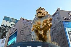 Lew statua przy Las Vegas MGM Uroczystym Kasynowym hotelem na Las Vegas pasku Zdjęcia Royalty Free