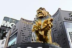 Lew statua przy Las Vegas MGM Uroczystym Kasynowym hotelem na Las Vegas pasku Obrazy Royalty Free
