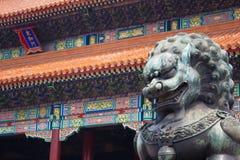 Lew statua Przy pałac muzeum, Zakazującym miasto Pekin Fotografia Royalty Free