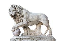 Lew statua w Florencja Włochy Odizolowywający na bielu Fotografia Stock