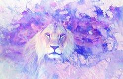 Lew twarz i graficzny skutek komputerowy kolaż Marmurowy skutek ilustracji