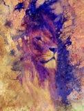 Lew twarz i graficzny skutek komputerowy kolaż Obraz Stock