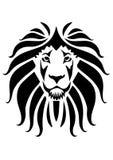 Lew twarzy ikona z czarnym kolorem Obrazy Stock
