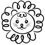 Lew z kędzierzawą grzywą, śmieszny dziecko royalty ilustracja