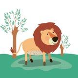 Lew zwierzęca karykatura w lasu krajobrazu tle Obraz Stock