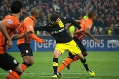 Lewandowski i handling under en match av mästareligan Fotografering för Bildbyråer