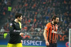 Lewandowski and Srna during a match of the Champions League Royalty Free Stock Images