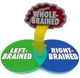 Lewego Prawego mózg Venn Dominującego diagrama Cały Brained Obrazy Royalty Free