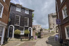 Lewes Castle in Lewes. A black-tiled Georgian House situated next to Lewes Castle in the historic town of Lewes in East Sussex, UK Stock Photography