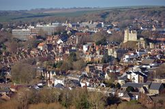 Lewes river. Lewes, East Sussex, showing the castle and river Ouse Stock Photography