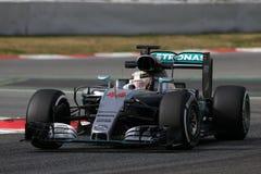 Lewis Χάμιλτον (GBR), ομάδα AMG Mercedes F1, F1 εξεταστικός Barcellon Στοκ εικόνα με δικαίωμα ελεύθερης χρήσης