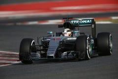 Lewis Χάμιλτον (GBR), ομάδα AMG Mercedes F1, F1 εξεταστικός Barcellon Στοκ Φωτογραφίες