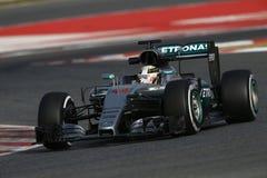 Lewis Χάμιλτον (GBR), ομάδα AMG Mercedes F1, F1 εξεταστικός Barcellon Στοκ Εικόνες
