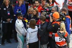 Lewis Χάμιλτον (GBR), ομάδα AMG Mercedes F1, F1 εξεταστικός Barcellon Στοκ φωτογραφία με δικαίωμα ελεύθερης χρήσης