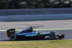Lewis Χάμιλτον (GBR), ομάδα AMG Mercedes F1, F1 εξεταστικός Barcellon Στοκ φωτογραφίες με δικαίωμα ελεύθερης χρήσης
