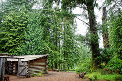 Lewis and Clark& x27;s Fort Clatsop in the Old Growth Forest Stock Photo