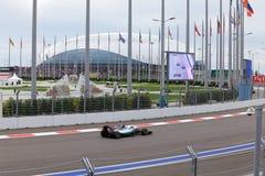 Lewis Hamilton av Mercedes AMG Petronas Formel en Sochi Ryssland Royaltyfria Foton