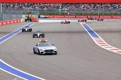 Lewis Hamilton av Mercedes AMG Petronas Formel en Sochi Ryssland Arkivbilder