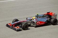 Lewis Hamilton bij Maleise formule 1 ras Stock Afbeelding