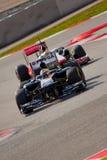 Lewis Hamilton contre le pasteur Maldonado - F1 2011 photo stock