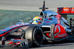 Lewis Hamilton driving Royalty Free Stock Photography