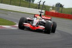 Lewis Hamilton en Silverstone fotografía de archivo