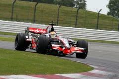 Lewis Hamilton en Silverstone imagen de archivo libre de regalías