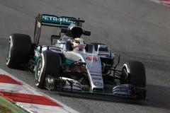 Lewis Hamilton (GBR), lag för AMG Mercedes F1, F1 som testar Barcellon arkivfoto