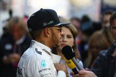 Lewis Hamilton (GBR), lag för AMG Mercedes F1, F1 som testar Barcellon arkivbilder