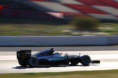 Lewis Hamilton (GBR), lag för AMG Mercedes F1, F1 som testar Barcellon royaltyfri foto