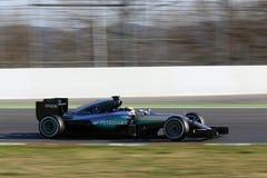 Lewis Hamilton (GBR), lag för AMG Mercedes F1, F1 som testar Barcellon royaltyfri fotografi