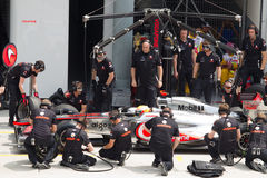 Lewis Hamilton hace un hueco de ensayo Foto de archivo