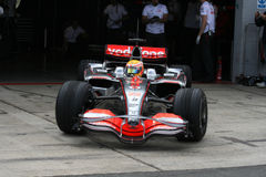 Lewis Hamilton leaving the pits Stock Image