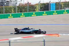 Lewis Hamilton of Mercedes AMG Petronas. Formula One. Sochi Russia. Sochi, Russia - September 30, 2018: Lewis Hamilton of Mercedes AMG Petronas F1 team racing royalty free stock image