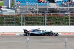 Lewis Hamilton of Mercedes AMG Petronas. Formula One. Sochi Russia. Sochi, Russia - September 30, 2018: Lewis Hamilton of Mercedes AMG Petronas F1 team racing royalty free stock photography