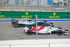Lewis Hamilton of Mercedes AMG Petronas. Formula One. Sochi Russia. Sochi, Russia - September 30, 2018: Lewis Hamilton of Mercedes AMG Petronas F1 team racing stock photo