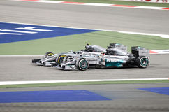 Lewis Hamilton &  Nico Rosberg of Mercedes racing Stock Photo