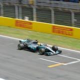 Lewis Hamilton på Front Straight Royaltyfria Bilder