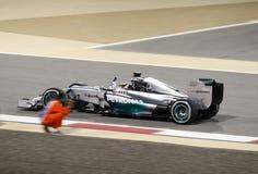 Lewis Hamilton, 1ra posición fotografió por un marcha Fotografía de archivo