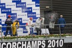 Lewis Hamilton, repère Webber et Kubica photos stock