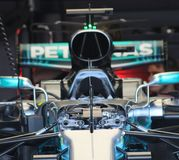 Lewis hamilton`s Formula 1 car. Lewis hamiltons mercedes F1 car at british grand prix Silverstone Stock Photography