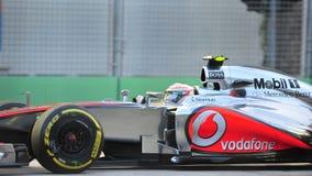 Lewis Hamilton tävlings- F1 Singapore GP Royaltyfria Bilder