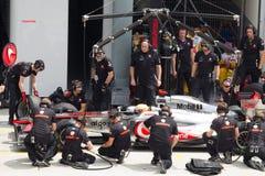 Lewis Hamilton tut eine Probegrube Stockfoto